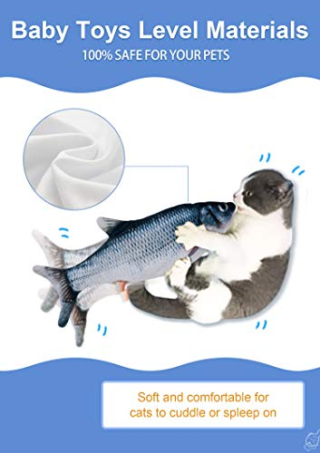 """Potaroma Moving Cat Kicker Fish Toy 11"""", Crucian Color, Realistic Flopping Fish, Wiggle Fish Toy, Kitty Kitten Toy, Interactive Cat Toy"""
