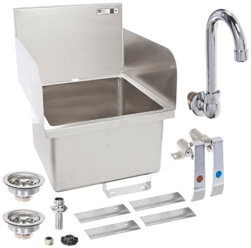 """UPC 662969101725, John Boos PBHS-W-1616-SSLR Stainless Steel 304 Pro-Bowl Hand Sink, Faucet Location: 1 Hole Centered Deck Mount, Left Hand and Right Hand Side Splash, 16"""" Length x 16"""" Width x 10"""" Depth"""