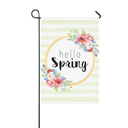 Outdoor Decor Flag - Hello Spring Flowrs Garden Decor Flag , Double Sided 12