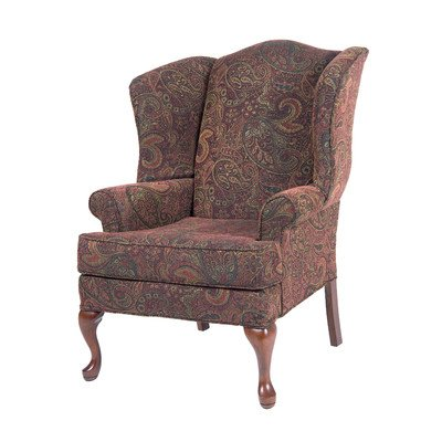 Comfort Pointe Paisley Cranberry Wing Back Chair