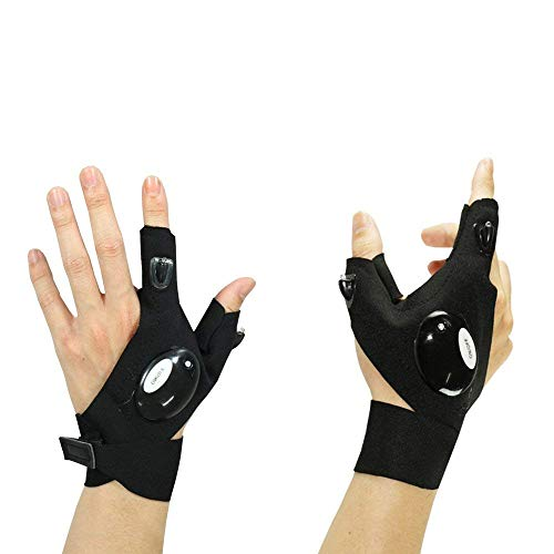 Mural Art Anti-Slip Half Finger Gloves LED Flashlight Luminous Multipurpose Glove for Repairing and Working in Darkness Places, Outdoor Sports, Fishing, Camping, Hiking, Running (left + -