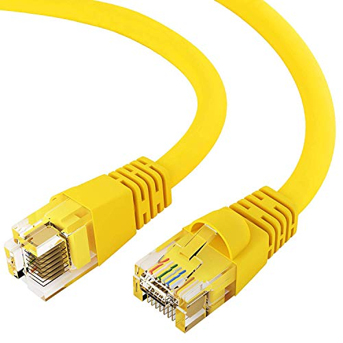 (GOWOS Cat6 Ethernet Cable (7 FT - Yellow) 24AWG Network Cable with Gold Plated RJ45 Snagless/Molded/Booted Connector - 10 Gigabit/Sec High Speed LAN Internet/Patch Cable - 550MHz)
