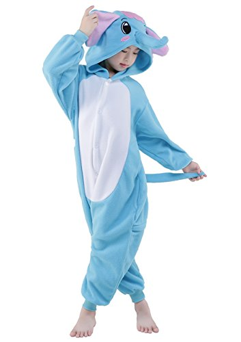 NEWCOSPLAY Childrens Panda Elephant Sleeping Wear Animal Onesies Cosplay Homewear (125#, Blue (Elephant Kids Costume)