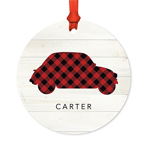 Andaz Press Personalized Family Christmas Ornament, Metal, Red Plaid Car, 1-Pack, Custom, Includes Ribbon and Gift - Care Gift Christmas Car Ideas