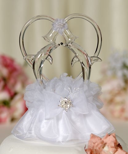 Wedding Collectibles Glass Beach Dolphin Cake Topper with Heart: Skirt Color: White