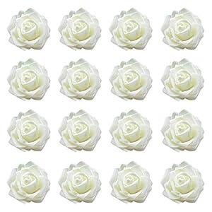 Ouken 50Pcs Artificial Rose Flower Heads Silk Rose Flower Heads Simulation Rose Heads for Wedding Bouquet Decor 93