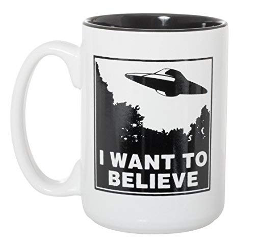 I Want To Believe UFO Mug - UFOs Aliens Extraterrestrials Space Mug - 15 oz Deluxe Double-Sided Coffee Tea Mug (White/Black Inlay) ()