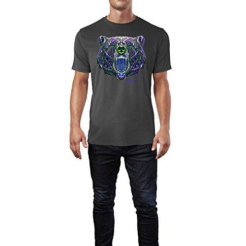 SINUS ART ® Gemusterter Bärenkopf im Ethno Stil Herren T-Shirts in Smoke Fun Shirt mit tollen Aufdruck