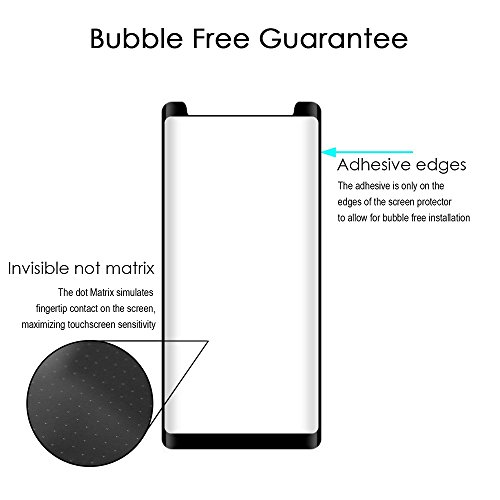 Galaxy Note 8 Temper Glass, Samsung Galaxy Note 8 Anti-Scratch Full Screen Coverage Edge to Edge Tempered Glass - Ultra Slim 0.3mm Temper Glass Gel For Galaxy Note 8,