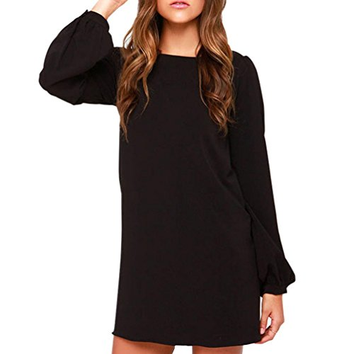 Joint Long Sleeve - Joint Women Casual Slim Long Sleeve Work Wear Mini Dress Party A-Line Dress (X-Large, Black)