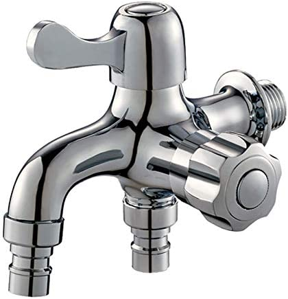 Wovier 洗濯機用水栓 双口 散水 に カラン 吐水 クロム処理