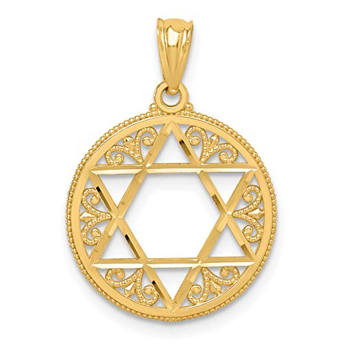 (Mireval 14k Yellow Gold Filigree Star of David Pendant (17 x 24 mm))