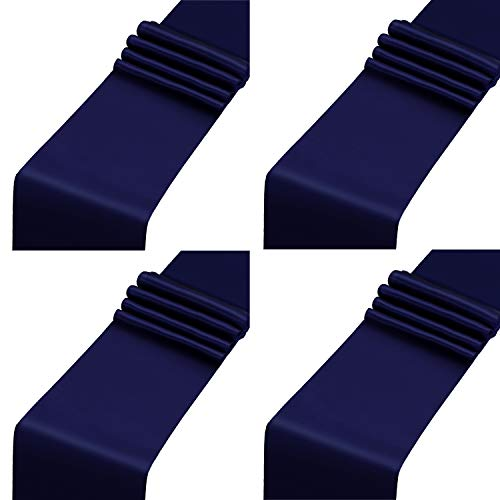 Aneco 4 Pack Satin Table Runner 12 x 108 Inch Long Bright Silk and Smooth Fabric Party Table Runner for Wedding Banquet Party Decoration- Navy Blue ()