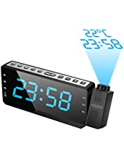 "SZMDLX Projection Alarm Clock for Bedrooms, FM Radio Alarm Clock with Temperature Display, 3 Alarms Snooze Sleep Timer, 7.5"" Large LED Display & Dimmer, 12/24 Hour, USB Charging, Battery Backup for Kids, Heavy Sleepers"