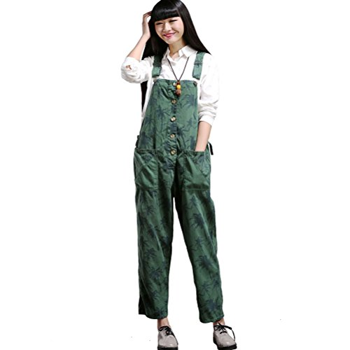 Aeneontrue Womens Casual Printed Jumpsuits Overalls Wide Leg Pants with Pocket