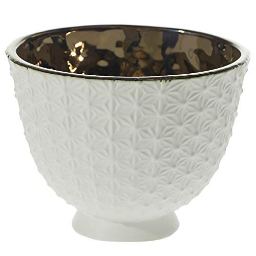 (Accent Decor White Round Textured Ceramic Bowl Planter - 6 X 4.75 X 4.75 Inches Pierre Compote Brass Interior Bowl - Modern Decor for Home or Office.)