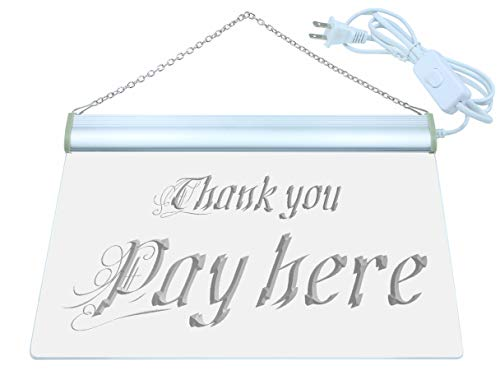 ADV PRO Pay Here Thank You Display Shop LED Neon Sign Green 12'' x 8.5'' st4s32-j696-g by ADV PRO