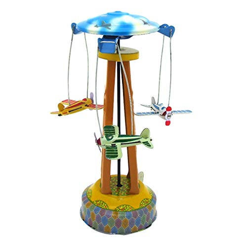 Elaco Window Display Props Nostalgic Clockwork Toy Single-Wing Rotary Aircraft Robot Dolls Tinplate Toy Collection Toy