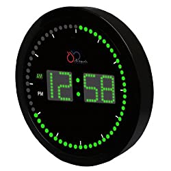 DBTech Time Sphere - Stylish Big Digital LED Clock with Circling LED second indicator - Round Shape (10 / Green LED)