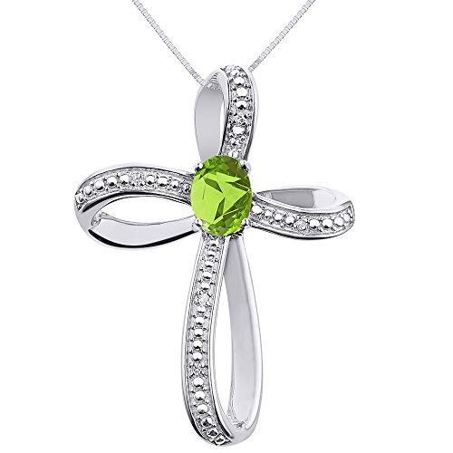 Diamond & Peridot Cross Pendant Necklace Set In 14K White Gold