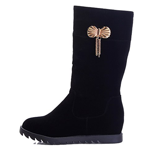AllhqFashion Womens Solid Kitten-Heels Round Closed Toe Imitated Suede Pull-On Boots Black t2YVkiC4ML