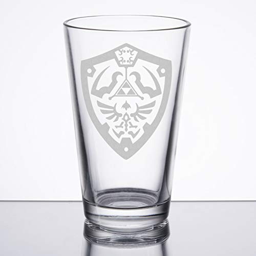 Height Pint Glass - The Legend of Zelda - Hylian Shield - Etched Pint Glass