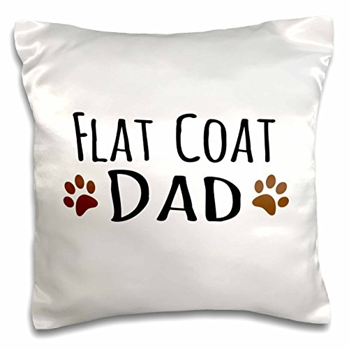Brown Flat Coated Retriever - 3dRose Dog Dad-Flat-Coated Retriever Bread-Brown Muddy paw Prints-Doggy Lover-Pillow Case, 16-inch (pc_153908_1)