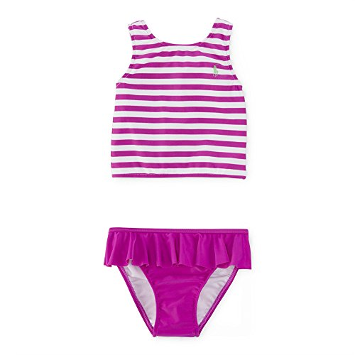 Ralph Lauren Baby Girls 2 Piece Striped & Solid-Hued Tankini (18 Months, Purple Cactus Flower) (Lauren Tankini Lined Ralph)