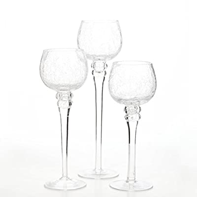 "Hosley Set of 3 Crackle Clear Glass Tealight Holders (9"", 10"", 12"" High)"