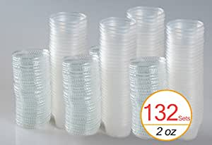 TashiBox 2 Oz Plastic Jello Shot Cups Disposable and Reuseable Portion Cups Souffle Cups with Lids, 132 Sets