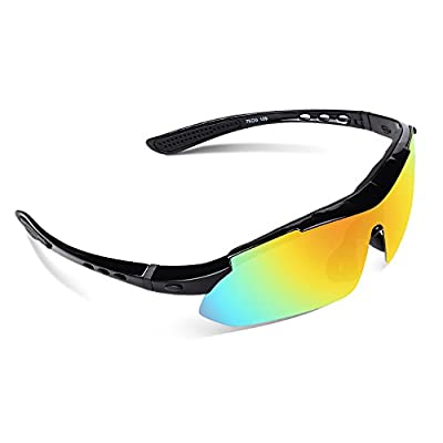 Ewin E03 Polarized Sports Sunglasses with 5 Interchangeable Lenses for Men Women Golf Baseball Volleyball Fishing Cycling Driving Running Glasses