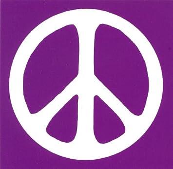 Peace sign white over purple peace anti war magnetic bumper sticker