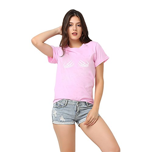 304741227d Antopmen Women Skull Finger Printed Pullover Casual Tees T-Shirt Short  Sleeve Tops