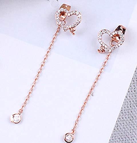 Lover Heart Clip On Dangle Earrings Cubic Zircon Sweet Tassel Eardrop Chrismas Holiday