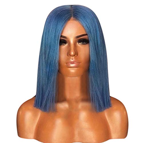 Wigs Gradient Purple Bob Short Women with Oblique Bangs Straight Synthetic Cosplay Costume (A) ()