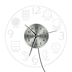 xuyuandass Wall Clocks Fashion Modern Design History of in Smiley Face Lighting Ist Ative Led Da Vinci Monet Picasso Dali Lovers Living Room Bedroom Home Office Hotel Decoration