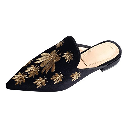 Schwarz Backless Velvet On Biene Mule Slip Embroidery Shoes Women's Chic Flat Slipperss Jushee Loafers xwUn17nq