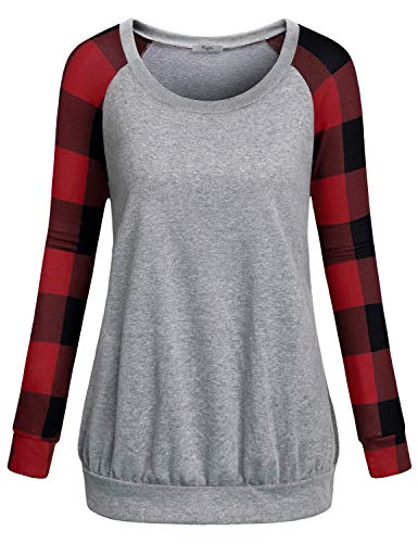 Cestyle Raglan Shirt Women,Cute Sweatshirts for Women Girls Crewneck Plaid Sleeve Lightweight Tunic Sweaters Juniors Unisex Jogger Pullover Tops Sports Knitted Jersey Baseball Tees Red Checkered Large