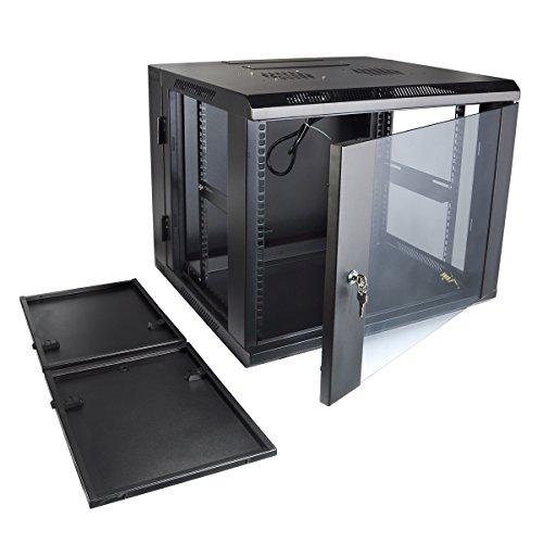 Wall Mount Server Cabinet 9U by Quicktec 19 Inch IT Server Network Rack Cabinet, Glass Door Lock w/ Fan (QTSC9U0002) (9u Wall)