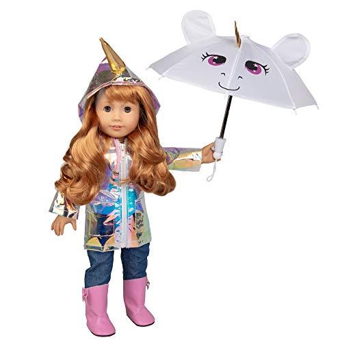 Dress Along Dolly Rainbow Unicorn Rain Coat Doll Clothes for American Girl Dolls:- Includes Unicorn Rain Jacket, Unicorn Umbrella, Boots, Pants, and Unicorn Shirt ()
