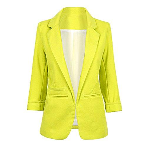 4 De Traje Blusa Top Elegante Mujer 3 Blazer Outwear Blazers Manga Fit Zhuikun Amarillo Slim Chaqueta qIw48af
