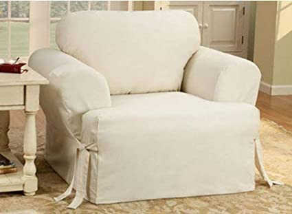 Surefit Duck Solid T Cushion Chair Slipcover Natural Sf28609