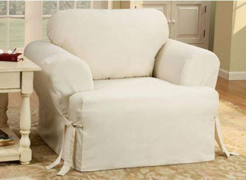 SureFit Duck Solid T-Cushion - Chair Slipcover  - Natural (SF28609) (Skirted Futon Cover Ottoman)