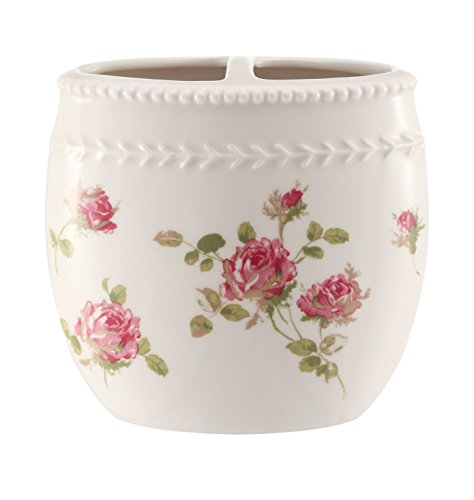 Five Queens Court Rosalind Country Chic Floral Bathroom Accessories, Toothbrush Holder, Pink Rose