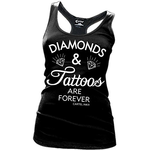 Women's Cartel Ink Diamonds and Tattoos Are Forever Racer Back Tank Black Shirt (Forever Tattoo Tank)