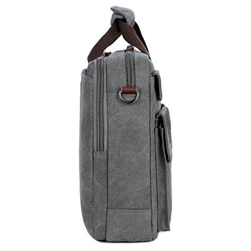 BAOSHA BC-07 Vintage Leinwand Herren Aktentasche Businesstaschen Laptoptasche groß passend für 14 ~ 17 Zoll Laptop Notebook Männer Segeltuch Arbeitstasche Umhängetasche Schultertaschen (Schwarz) Grau qLwLElR0