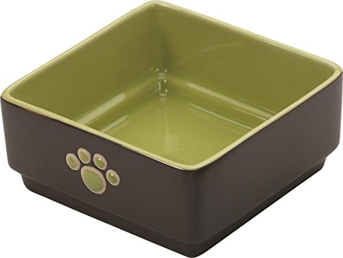 Ethical Pet Dog Stoneware - Ethical Pet Products (Spot) DSO6935 Stoneware 4-Square Dog Dish, 5-Inch, Green