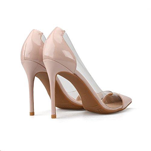 Talons Aiguille Cuir Verni Superficielle En Sbl Bouche 36 Femmes Et Coutures Sexy Pour Transparent Plastique Chaussures Nude tzx7wE7q