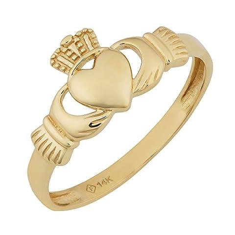 14k Yellow Gold High Polish Claddagh Ring (Womens Gold Claddagh Ring)