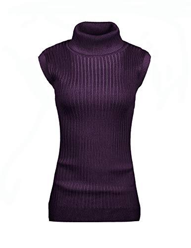 v28 Women's Ladies Juniors Sleeveless Mock Neck Turtleneck Tops Jumper Sweater(M(8-10), ()